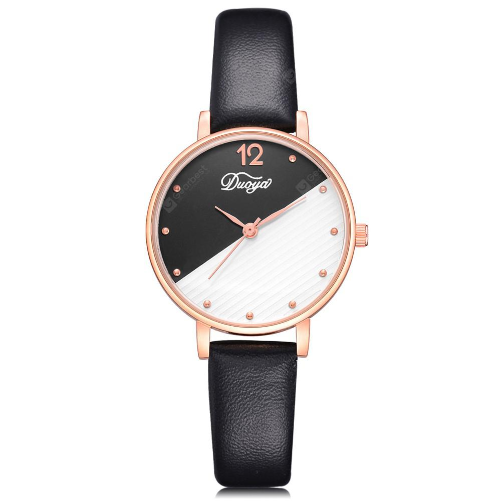 DUOYA D229 Women Two-Tone Analog Quartz Leather Watch