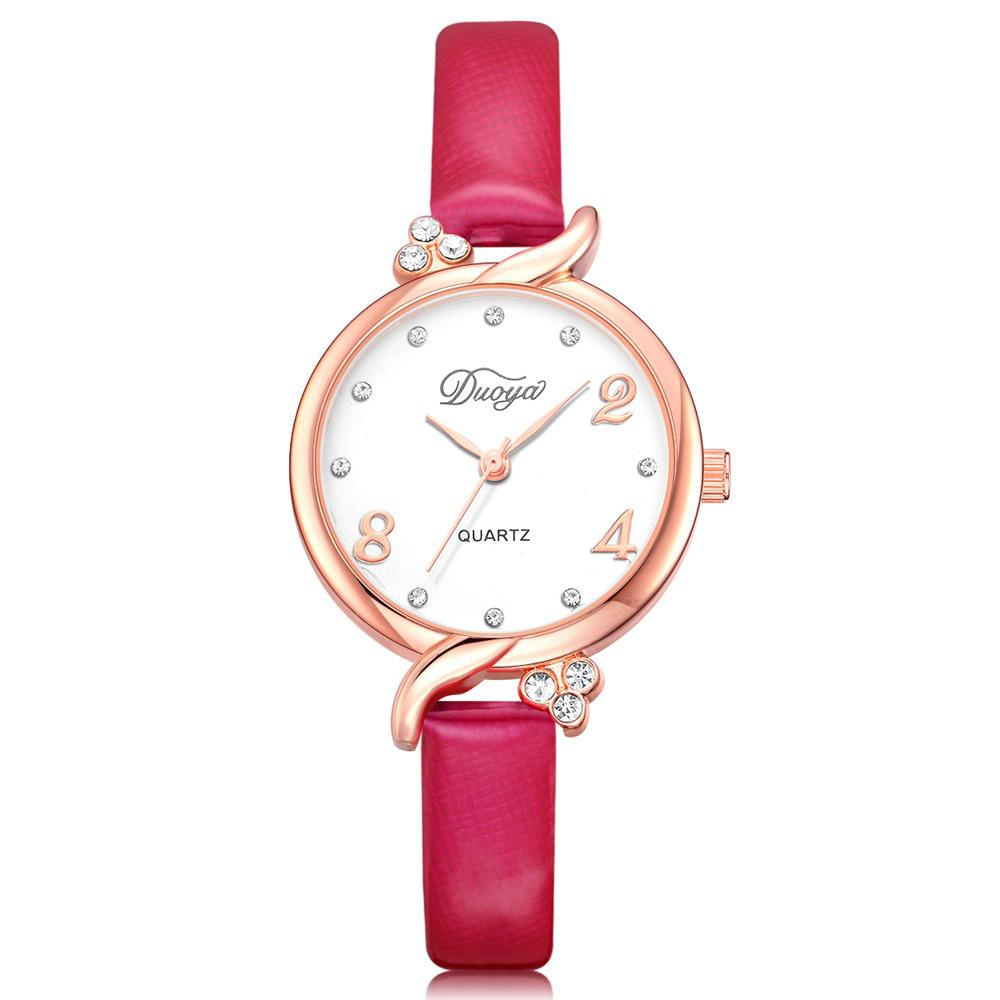 DUOYA D230 Women Simple Analog Quartz Jewelry Watch Leather Wristwatch