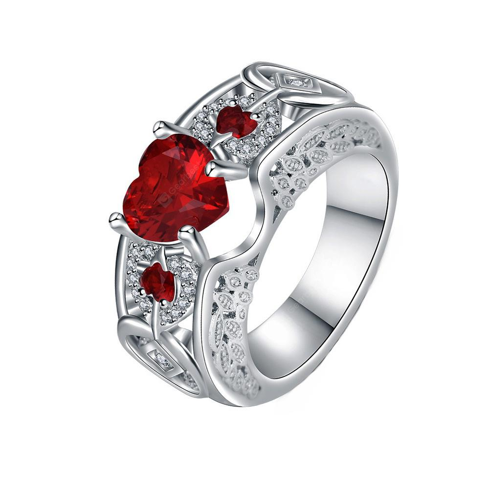 Heart Shaped Wings Large Gemstone Diamond Ring