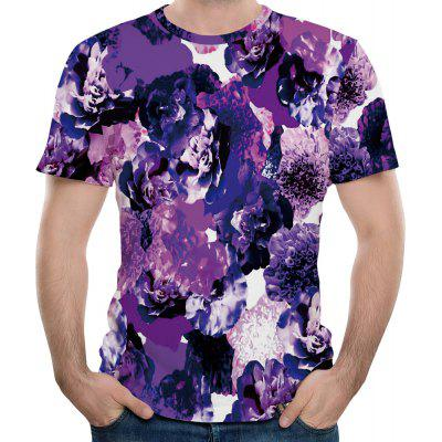 2018 New Men's Mesh Fabric 3D Purple Flower Print Short Sleeve T-shirt