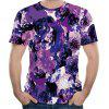 2018 New Men's Mesh Fabric 3D Purple Flower Print Short Sleeve T-shirt - DARK VIOLET