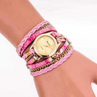The New Leopard Woven Lady  PU Harajuku Round Bracelet Watch