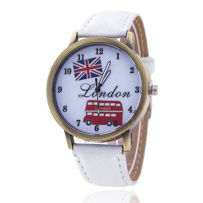 New Fashion London Bus Hotel Cartoon Lady Leisure Watch Jeans Belt