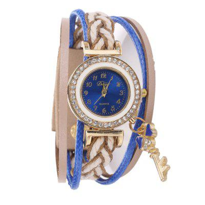 DUOYA D250 Women's Arabic Numbers Leather Jewelry Watch with Artificial Diamonds