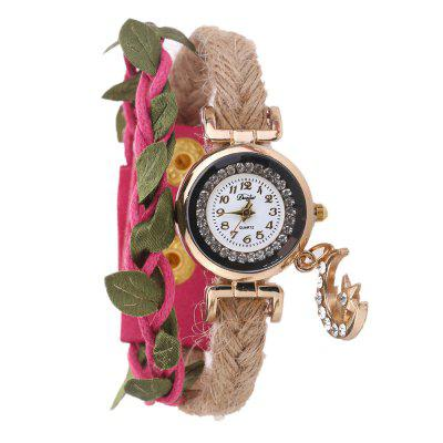 DUOYA D251 Women Braided Bracelet Wrist Watch with Leaves and Pendant