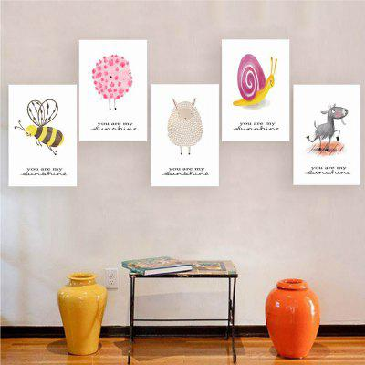 W172 Small Animals Unframed Art Wall Canvas Prints for Home Decorations 5PCS