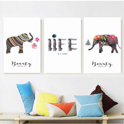 W180 Elephant Unframed Art Wall Canvas Prints for Home Decorations 3 PCS