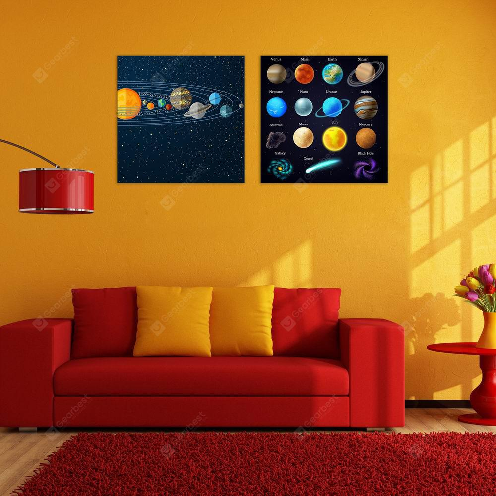 W190 Planets Unframed Wall Canvas Prints for Home Decorations 2 PCS