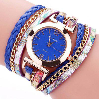 B0997 Damesmode Bohemian Quartz Leather Weave Bracelet Watch