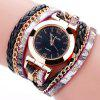 B0997 Women Fashion Bohemian Quartz Leather Weave Bracelet Watch - BLACK