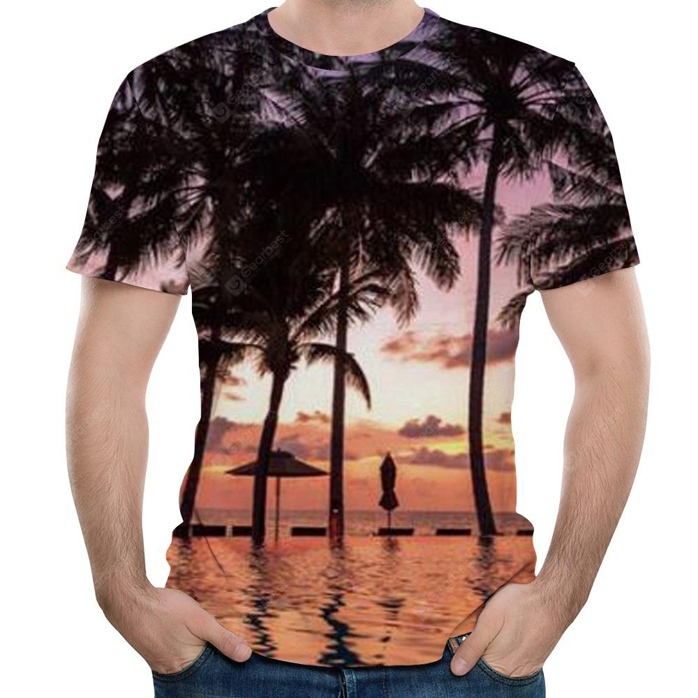 Summer fashion tropical landscape print Men's short sleeve T-shirt