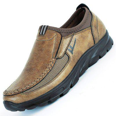 Men Large Size Hand Stitching Microfiber Leather Non-slip Casual Shoes
