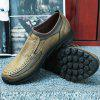 Men Large Size Hand Stitching Microfiber Leather Non-slip Casual Shoes - CAMEL BROWN