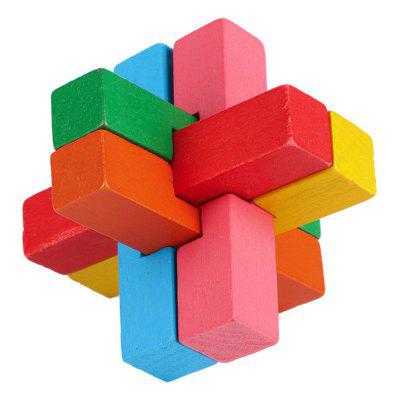 3D Interlocking 6-pieces Multicolor  Cross Wooden Burr Puzzle