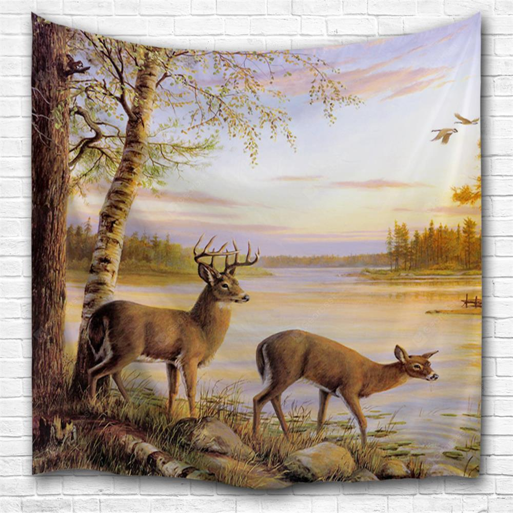 Sunset Elk 3D Printing Home Wall Hanging Tapestry for Decoration