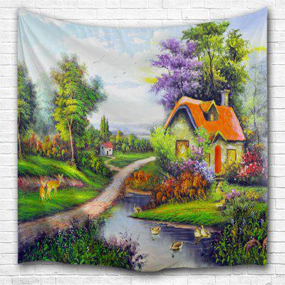 Oil Painting Town2 3D Printing Home Wall Hanging Tapestry for Decoration