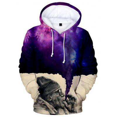 2018 New The Old Man Smoking Space 3D Hoodie