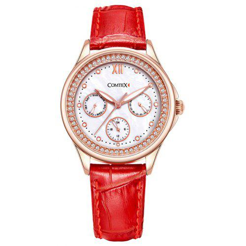 5594ebfdd COMTEX SYL140063-2 Women's Quartz with Pearl Dial Display Red Leather Watch