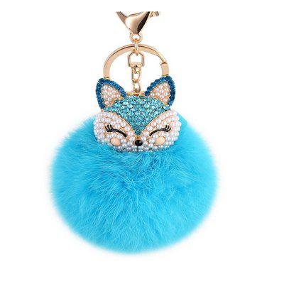 Cute Fox Bobbles Fur Ball Rhinestone Keychain Bag Car Ring Keyring