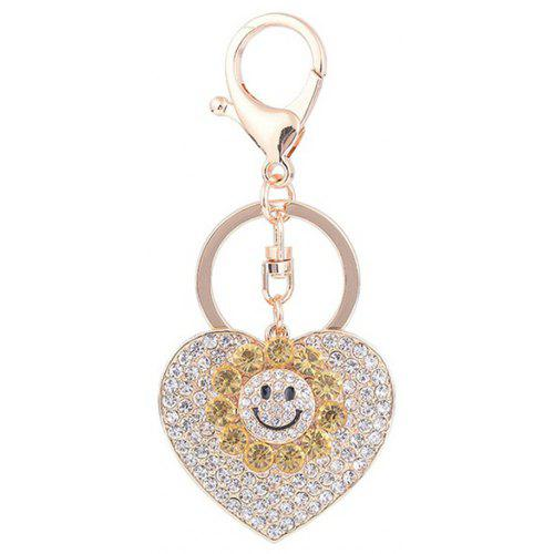 Sun Heart Keychain Rhinestone Key Ring Women Bag Accessories With Smile  Face Key -  2.42 Free Shipping 8b49177414