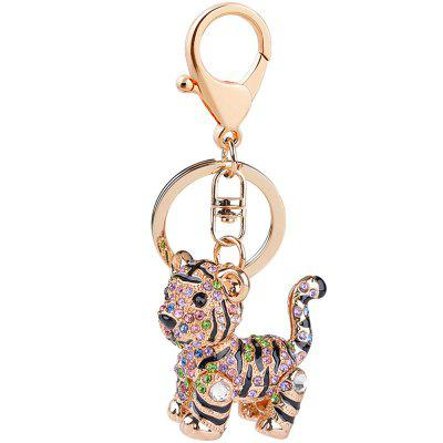 Car Key Strass Exquis Animal Petit Tigre Porte-clés Charm Sac