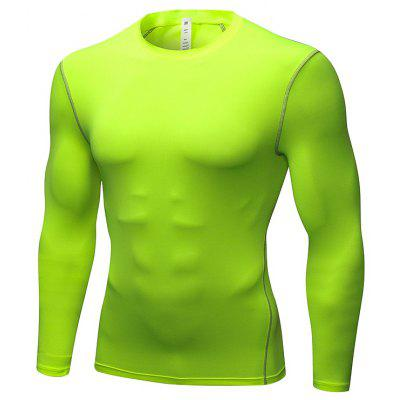 Men's Elastic Tight Fast Drying Fitness Long Sleeves Running T-Shirt