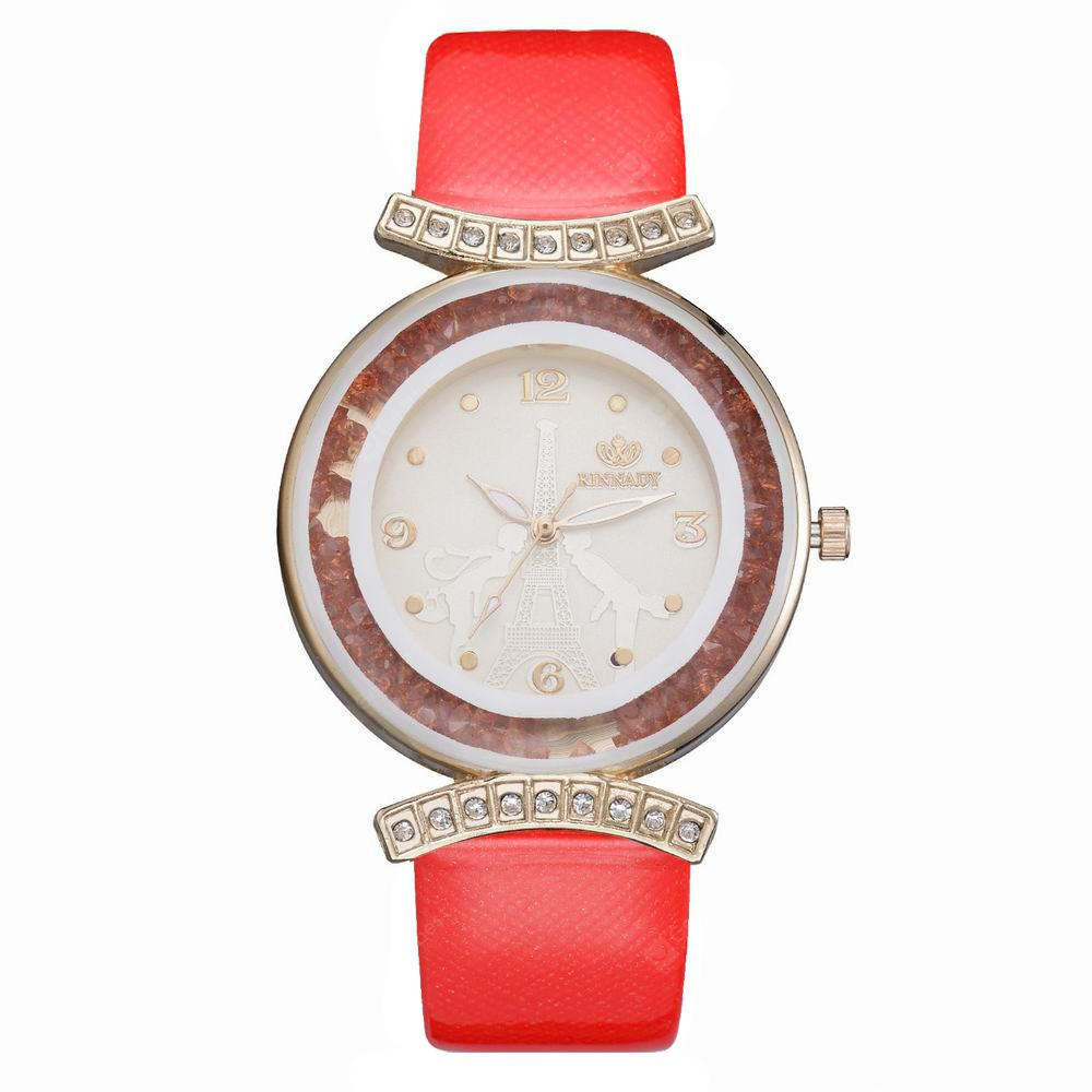 RINNADY XR2529 Women Fashion Crystal-Accent Round Case Pu Band Quartz Watch