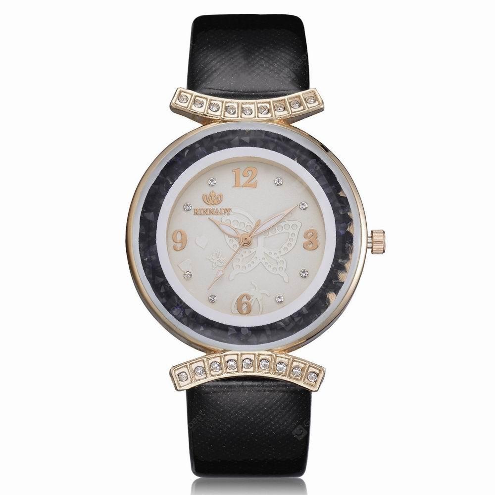 RINNADY XR2531 Women Fashion Crystal-Accent Round Case Pu Band Quartz Watch