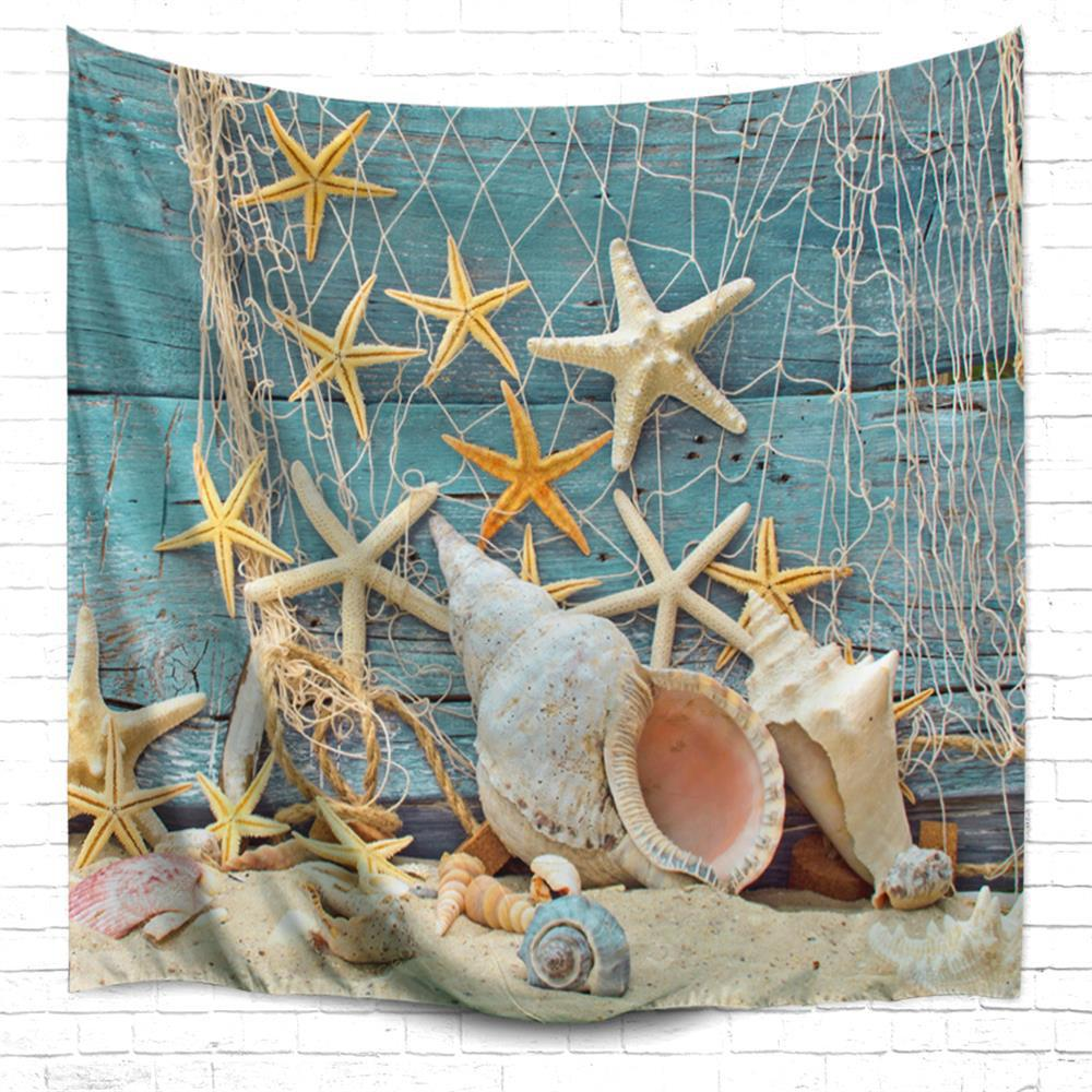 Fishnet Starfish 3D Printing Home Wall Hanging Tapestry for Decoration