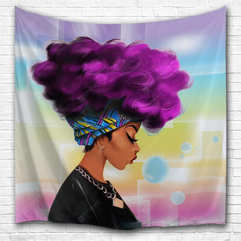 Purple Hair Girl 3D Printing Home Wall Hanging Tapestry for Decoration