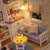 1/24 Dollhouse Miniature DIY Kit with LED Light Cover Wood Toy Doll House Room - MULTI-A
