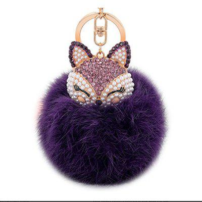 Real Rabbit Fur Ball with Artificial Fox Head Inlay Pearl Rhinestone Key Chain