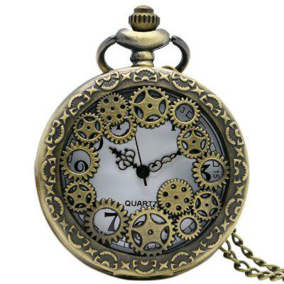 Retro Hollow Bronze Gear Hollow Quartz Pocket Watch
