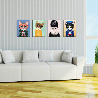 W228 Cats Frameless Wall Canvas Prints for Home Decorations 4 PCS