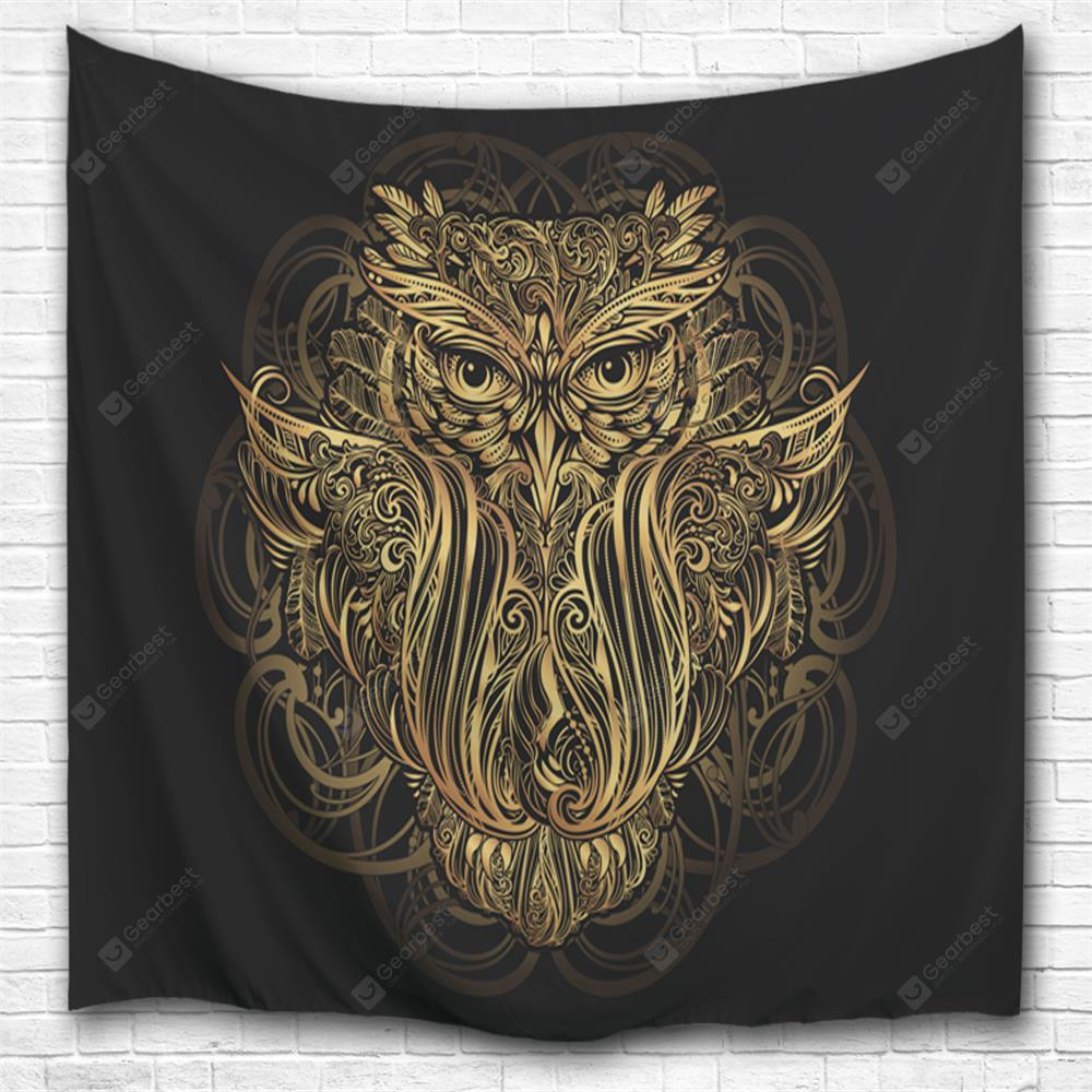 Golden Owl 3D Printing Home Wall Hanging Tapestry for Decoration