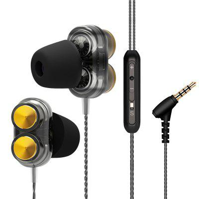 Earphones Dual Driver With Mic Gaming Headset Mp3 DJ Field Headset Running Sport