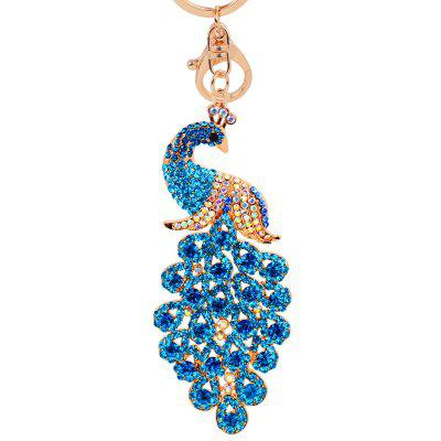 Peacock Keychain Crystal Handbag Charm for Feather Fans Key Ring