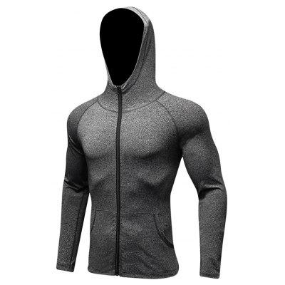 Men'S Sports Leisure Running Training Hooded and Fast Drying Fitness Jacket