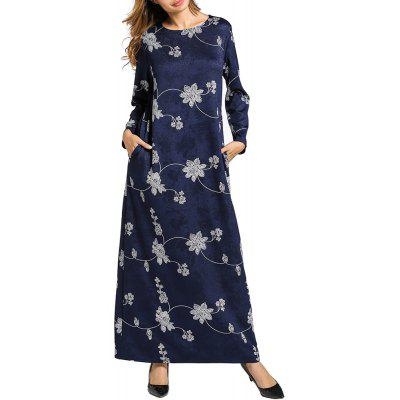Women's Ethnic Long Sleeve Large Size Printed Knitted Dress