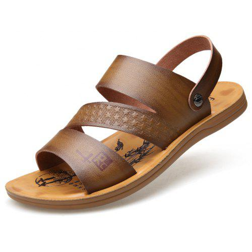 6588307ec1ed9c MUHUISEN Men Fashion Summer Soft Leather Beach Sandals -  22.43 Free  Shipping