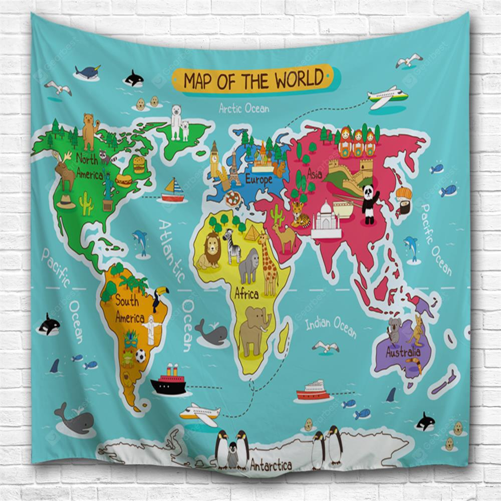 Cartoon World Map 3D Printing Home Wall Hanging Tapestry for Decoration