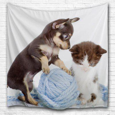 Cat and Dog Line Ball 3D Printing Home Wall Hanging Tapestry for Decoration