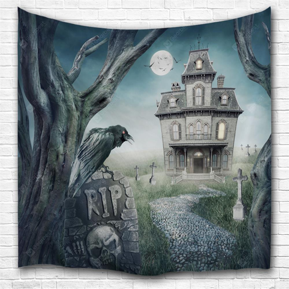 Crow Haunted House 3D Printing Home Wall Hanging Tapestry for Decoration