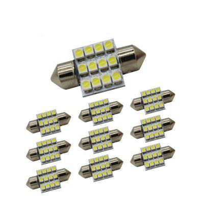 ZHENMIN 10PCS 12-3528-SMD 31MM Festoen LED Car Light DC12V