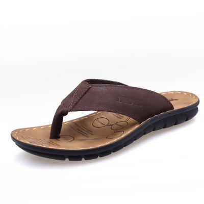 Summer Leather Men Flops Shoes Leather Sandals Male Slipper Casual Beach Shoes