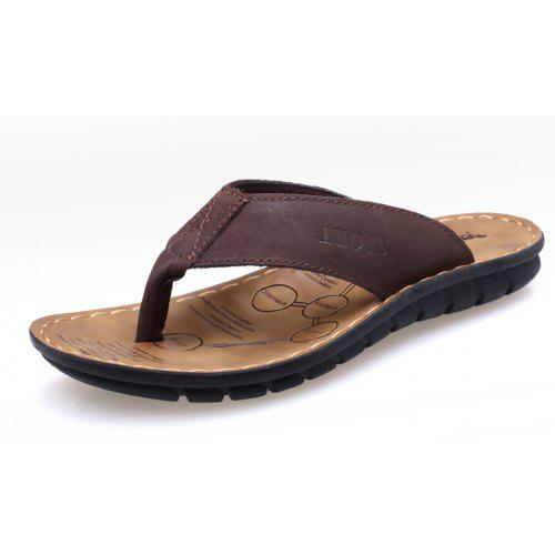 1f66e7d2ba7c9 Summer Leather Men Flops Shoes Leather Sandals Male Slipper Casual Beach  Shoes -  27.55 Free Shipping