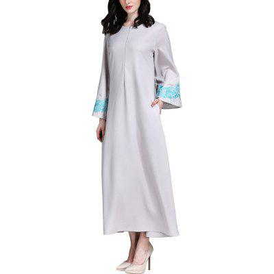 The New  Gown with A Round Collar and Long Sleeves Dress