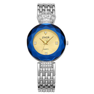 ZIVOK 8004L Crown Metal Strip Artificial Diamond Quartz Wrist Watch