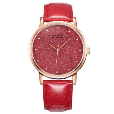 ZIVOK 8005 Fashion Leather Strap Artificial Diamond Glitter Quartz Watch