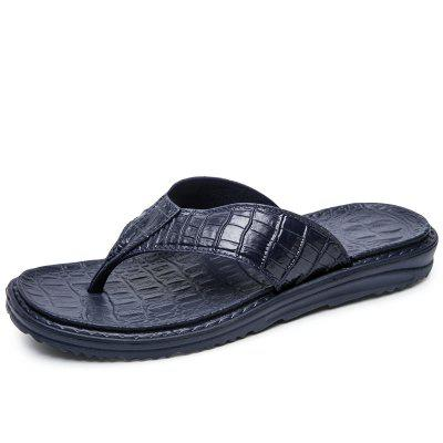 Summer Men Crocodile Pattern Casual High Quality Leather Flip Flops